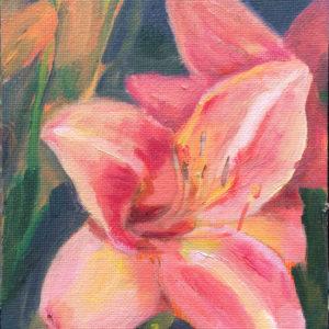melon daylily original oil painting
