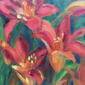 red daylilies oil painting bart levy art