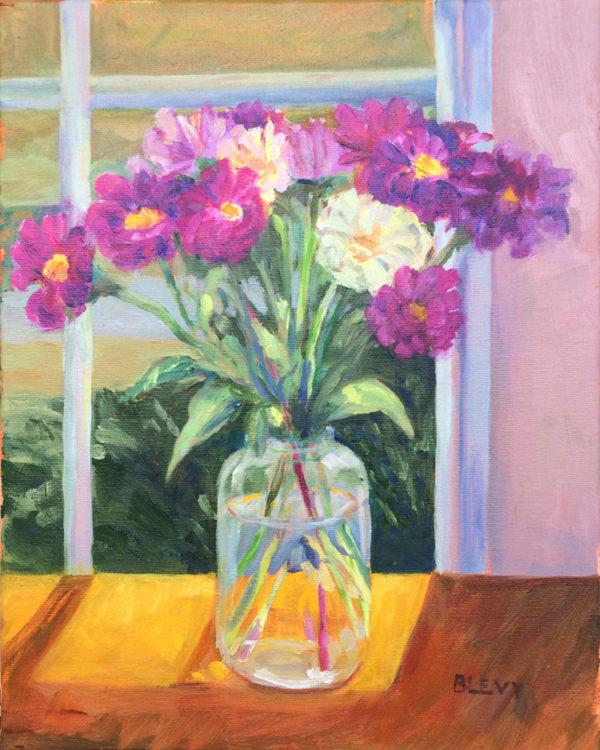 zinnias on sunny table bart levy art oil painting