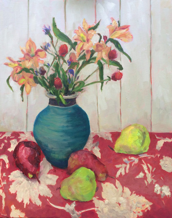 Flowers and pears still life oil painting bart levy art