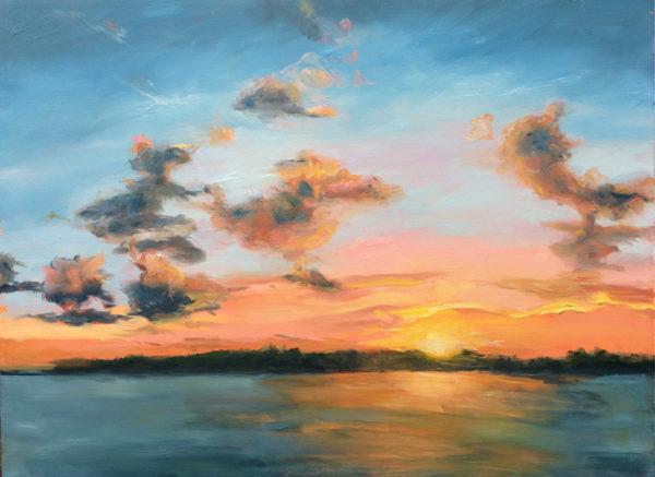 Wilmington sunset original oil painting bart levy art