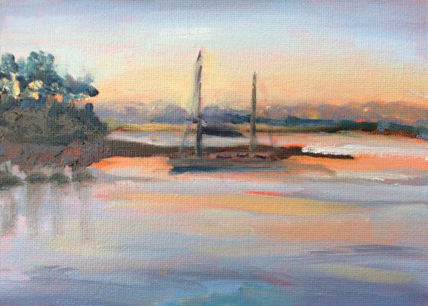 catamaran at dawn original oil painting bart levy art