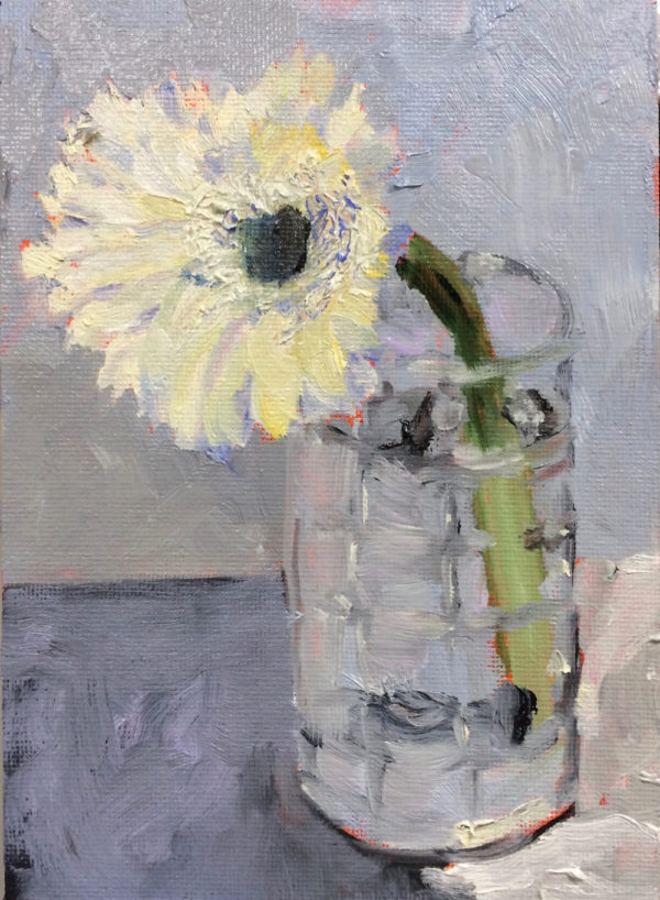 arrangement in gray and white original oil painting of the day bart levy art