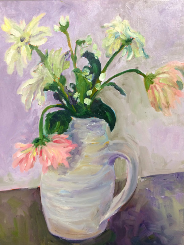 gerberas in earthenware jug original oil painting of the day bart levy art