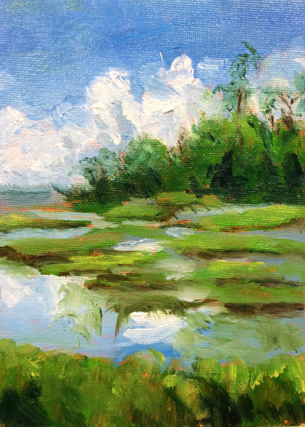 marsh at Roanoke aquarium original oil painting a day bart levy art