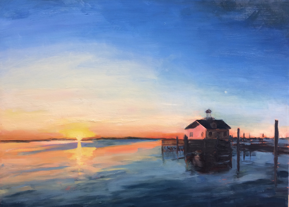 manteo marsh sunrise moonrise oil painting a day bart levy art
