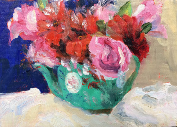 roses and gerbera original oil painting of the day bart levy art