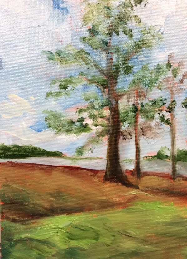 sentinels painting a day original oil bart levy art