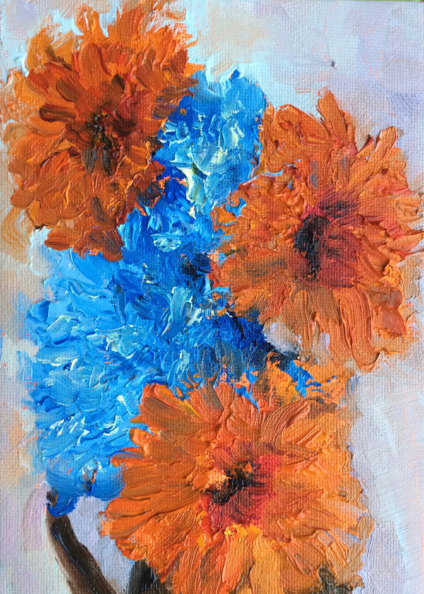 hydrangea and gerberas original oil painting of the day bart levy art