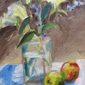 lilies with apples painting a day original oil bart levy art