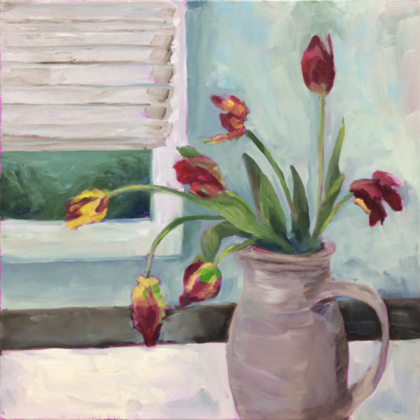 parrot tulips original painting of the day bart levy art