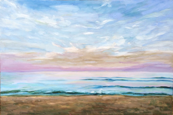 beach dawn original oil painting of the day bart levy art