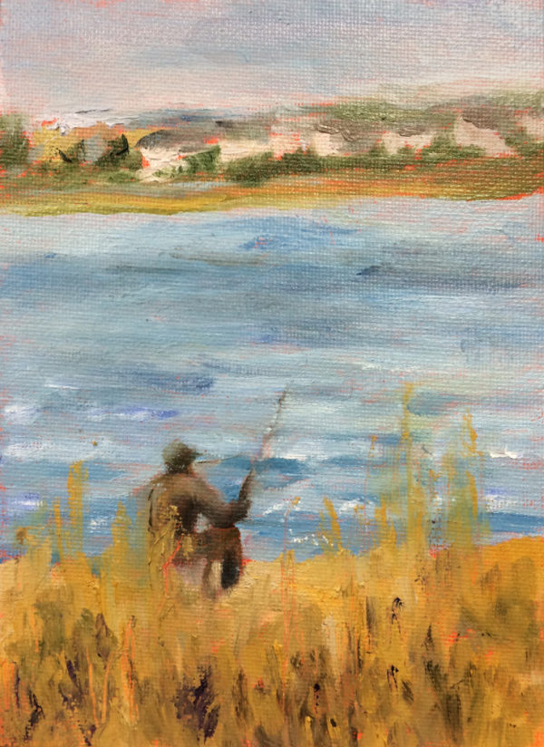 fishing the inlet original oil painting of the the day bart levy art