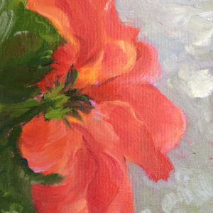 vermilion hibiscus original oil painting of the day bart levy art