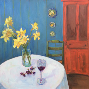 Daffodils with Green Chair original oil painting bart levy art