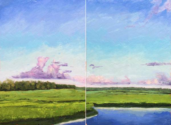 evening comes to the marsh diptych original oil painting bart levy art