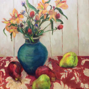 STILL LIFE WITH FLOWERS AND PEARS original oil painting bart levy art