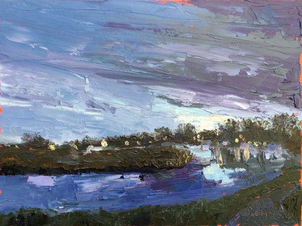Hoskins Creek Nocture, original oil painting by Bart Levy