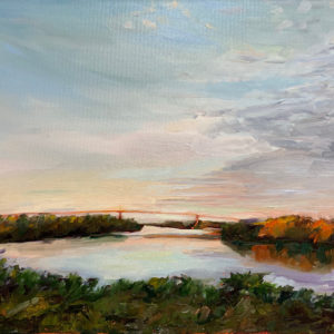 Bridge at Sunset original oil painting by Bart Levy