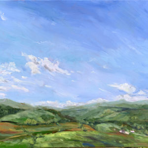 In the Shelter of the Mountains, original oil painting by Bart Levy