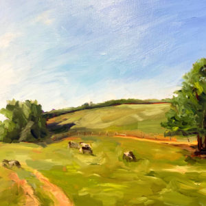 Landscape with Cows, original oil painting by Bart Levy