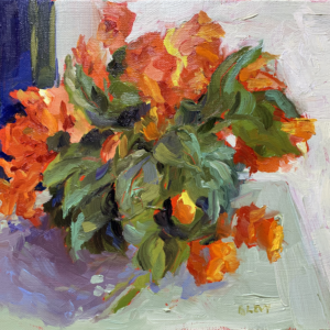 Begonias on a porch table, original oil painting by bart levy