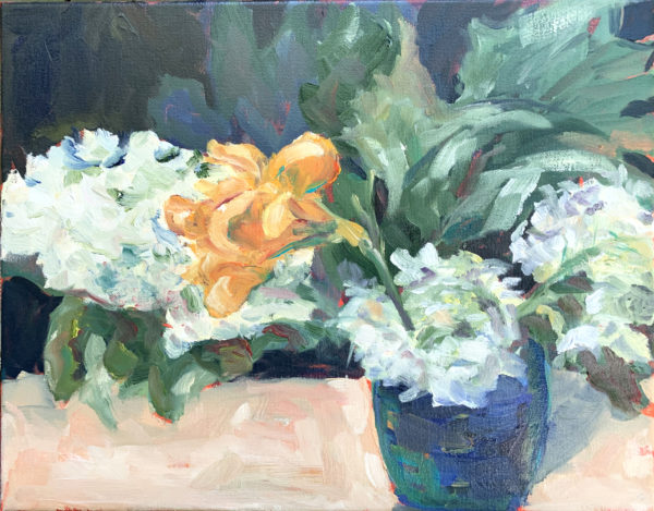 Hydrangeas and Daylily, original oil painting by Bart Levy