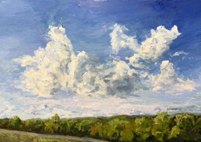 Walk among the clouds, original oil painting by bart levy