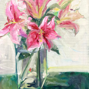 stargazer lilies, original oil painting by Bart Levy