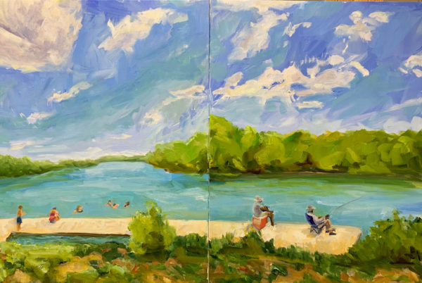 Sunday Afternoon at the James River, original oil painting by Bart Levy