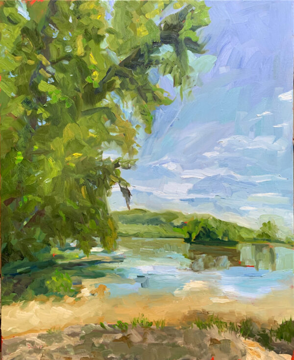 James River at Scottsville, original oil painting by Bart Levy