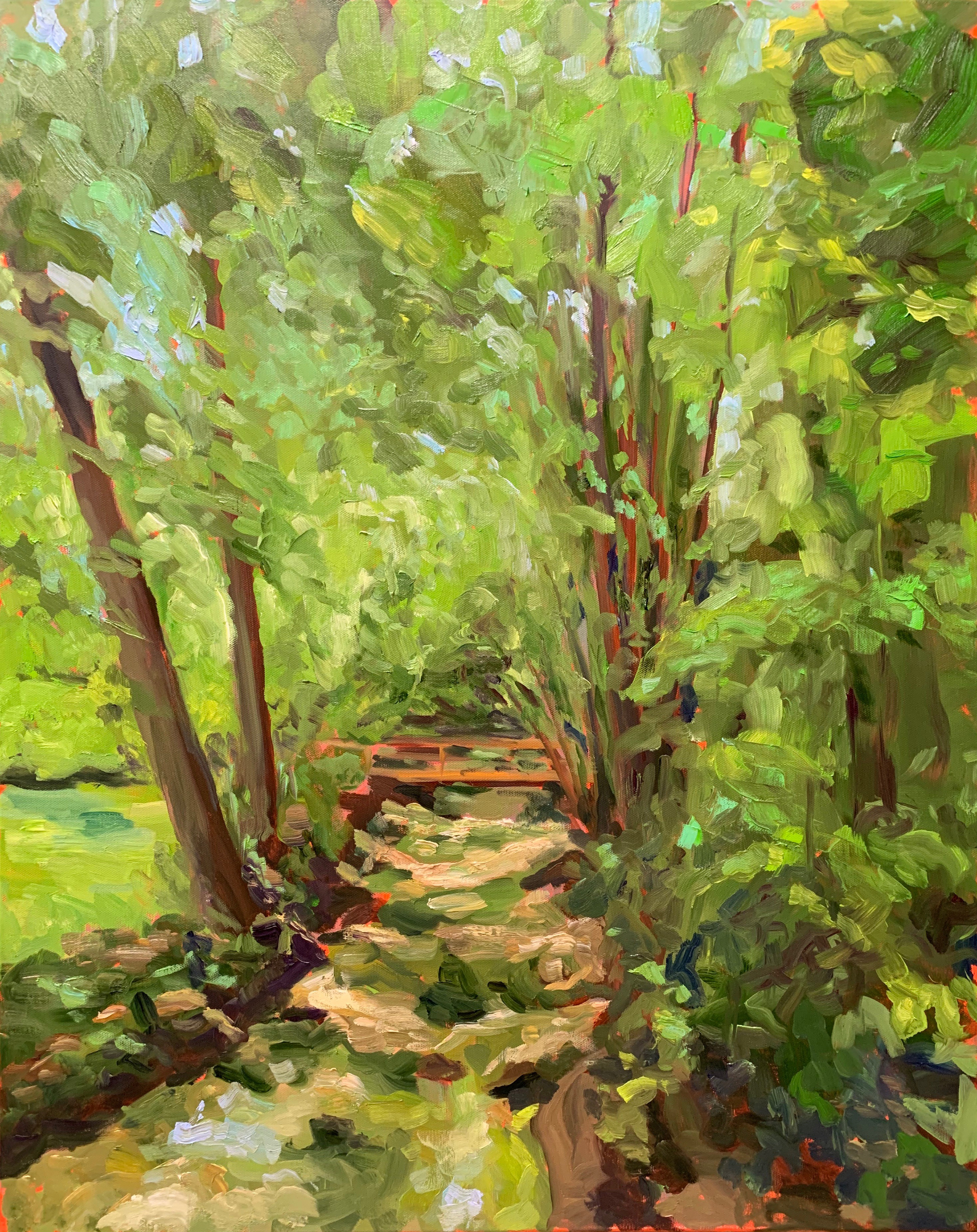 Backyard Creek, original oil painting by Bart Levy