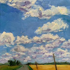 county highway, original oil painting by Bart Levy