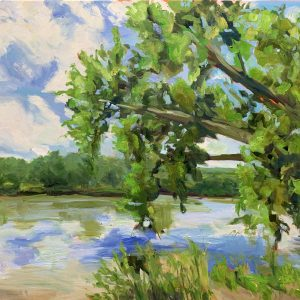 Overlooking the River, original oil painting by Bart Levy