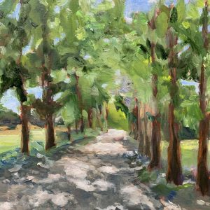 dappled path, original oil painting, bart levy
