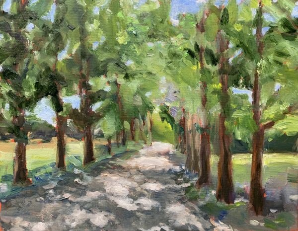 dappled path, original oil painting, bart levy