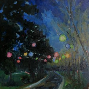 party lights at maymont, original oil painting, bart levy