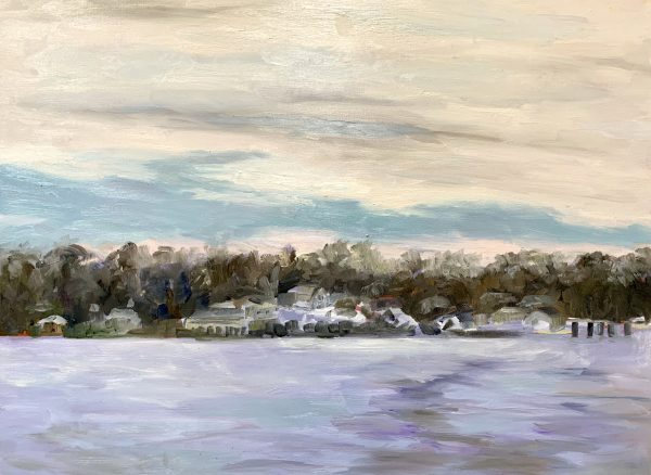 View from the James River Ferry, original oil painting by Bart Levy