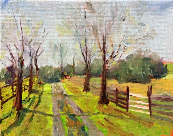 Four Board Fence, original oil painting, bart levy