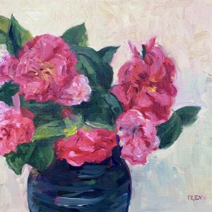 churchyard camellias, original oil painting, bart levy