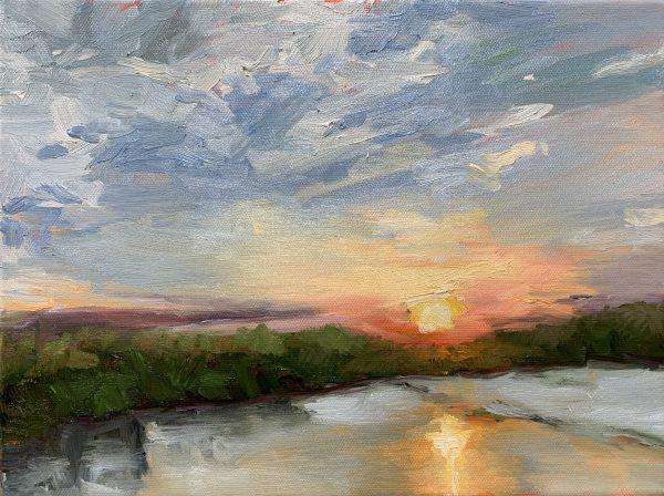 sunset from powhite bridge, original oil painting, bart levy
