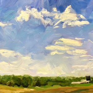 farm with black silos, original oil painting by Bart Levy