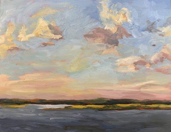 tender light of sunset, original oil painting, bart levy